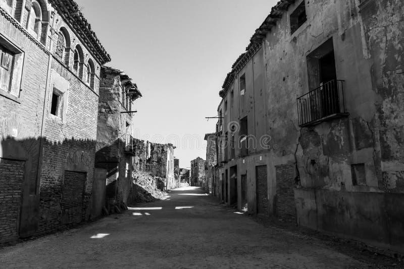 Fördärvar av Belchite - Spanien royaltyfria bilder