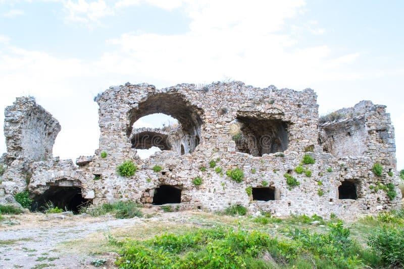 Fördärvar av byggnader av den forntida staden kalkon Sidostad arkivfoto