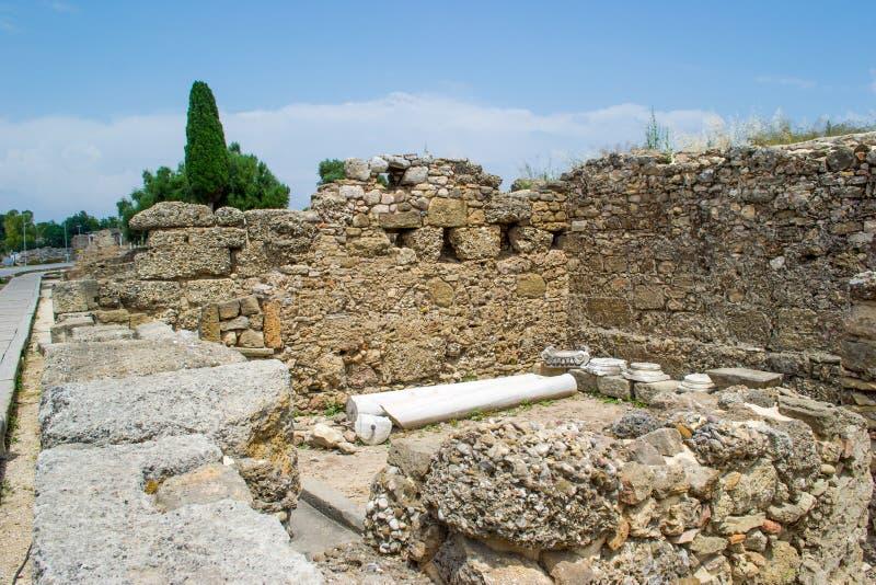 Fördärvar av byggnader av den forntida staden kalkon Sidostad arkivfoton