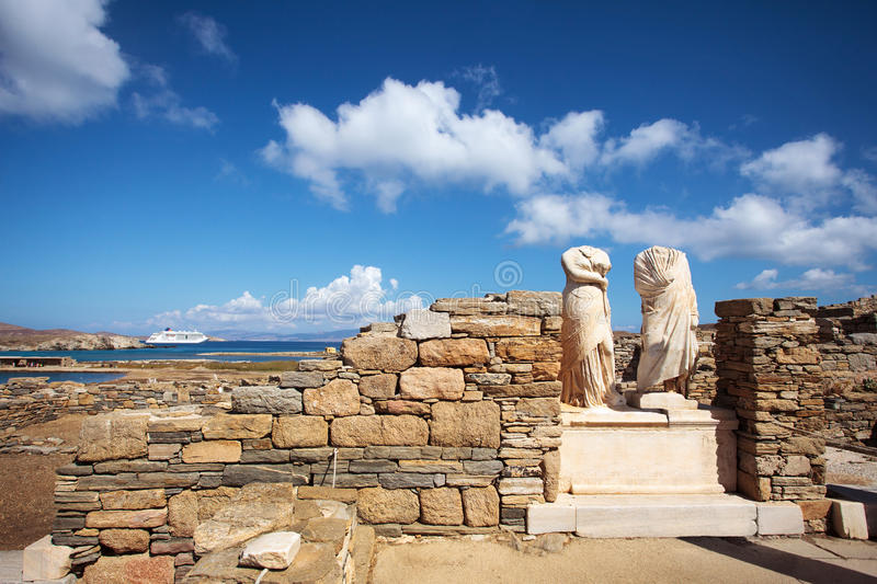 Fördärvar av Cleopatra House i Delos, Grekland arkivbilder