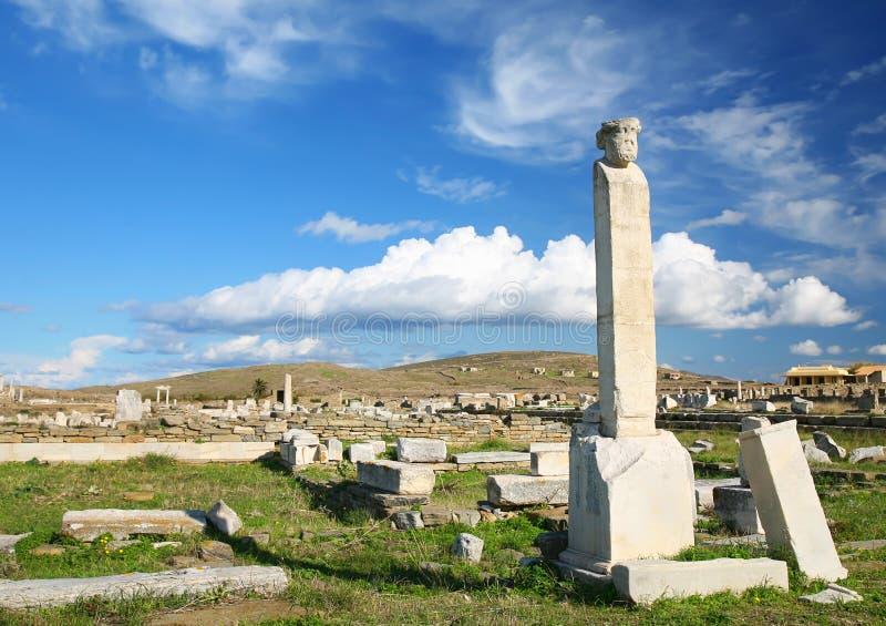 Fördärvar av Delos arkivbild