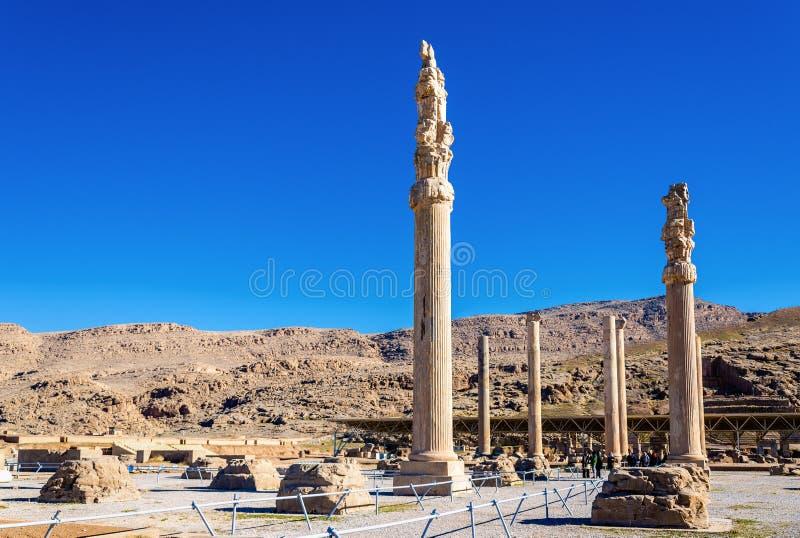 Fördärvar av den Apadana slotten på Persepolis fotografering för bildbyråer