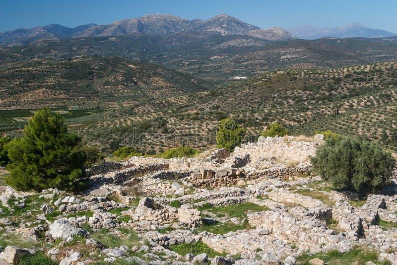 Fördärvar av den arkaiska staden av Mycenae fotografering för bildbyråer