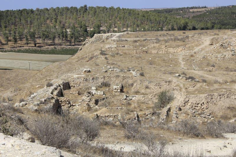 Fördärvar av den forntida bibliska staden av Lachish, i dag telefon Lachish fotografering för bildbyråer