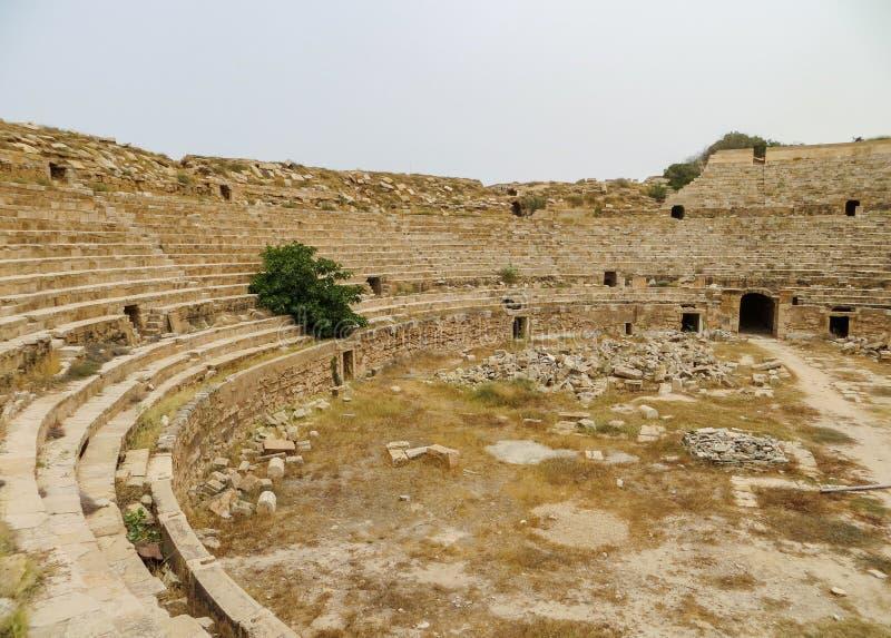 Fördärvar av den forntida romerska arenan för gladiatorer och lekar som lokaliseras på Leptis Magna i Libyen royaltyfria foton