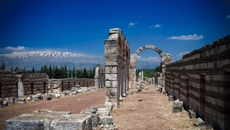 Fördärvar av den forntida staden Anjar i Bekaa Valley, Libanon royaltyfri fotografi
