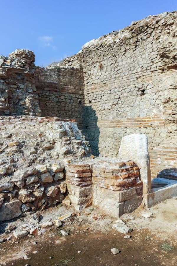 Fördärvar av den forntida staden Heraclea Sintica - som byggs av Philip II av Macedon, Bulgarien royaltyfria foton