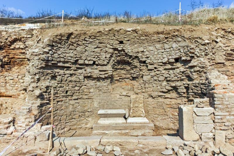 Fördärvar av den forntida staden Heraclea Sintica - som byggs av Philip II av Macedon, Bulgarien arkivbild