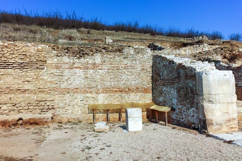 Fördärvar av den forntida staden Heraclea Sintica - som byggs av Philip II av Macedon, Bulgarien arkivfoton