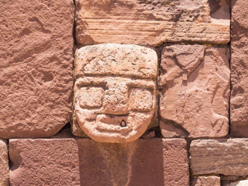 Fördärvar av den forntida staden av Tiwanaku, Bolivia arkivfoton