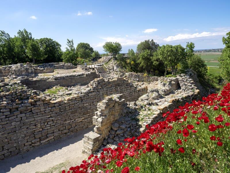 Fördärvar av den forntida Troia staden, Canakkale Dardanelles/Turkiet arkivbilder
