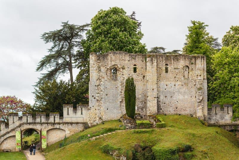 Fördärvar av den gamla slotten av Langeais arkivbild