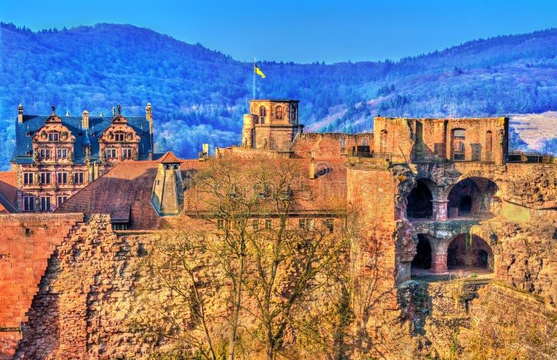 Fördärvar av den Heidelberg slotten i det Baden-Wurttemberg tillståndet av Tyskland arkivbilder