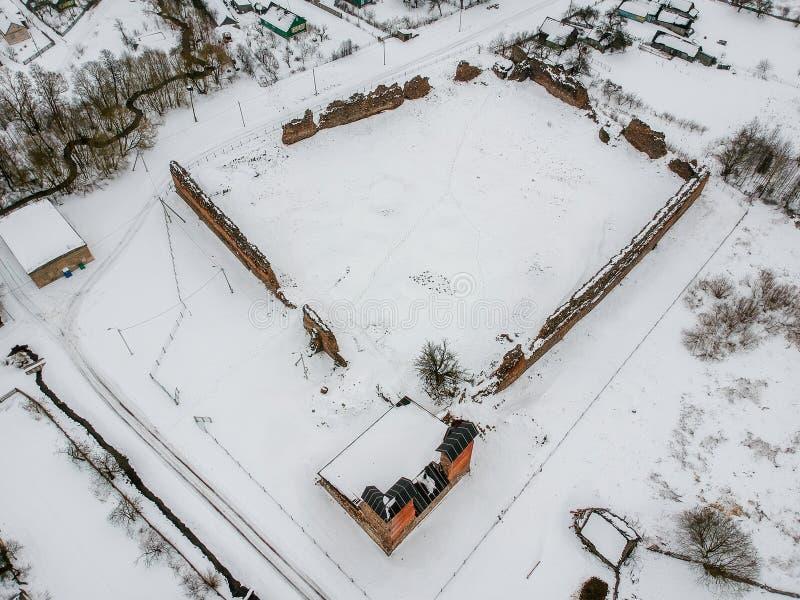 Fördärvar av den Krevo slotten i Vitryssland arkivfoto