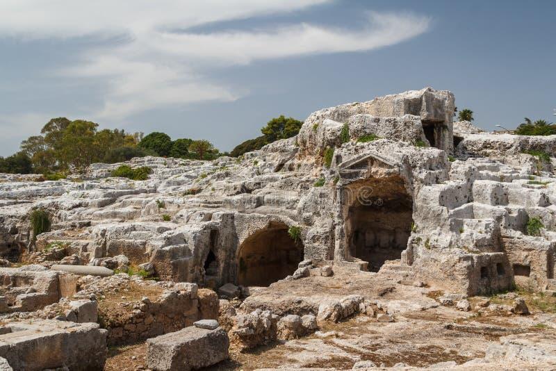 Fördärvar av den möjliga Archimedes graven fotografering för bildbyråer