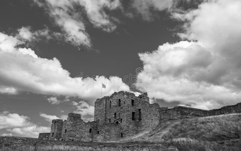 Fördärvar av den medeltida Tynemouth priorskloster och slotten, en populär kraft arkivbilder