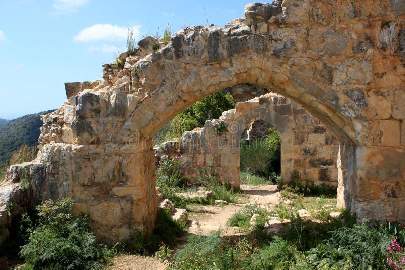 Fördärvar av den Monfort slotten, Israel arkivfoton
