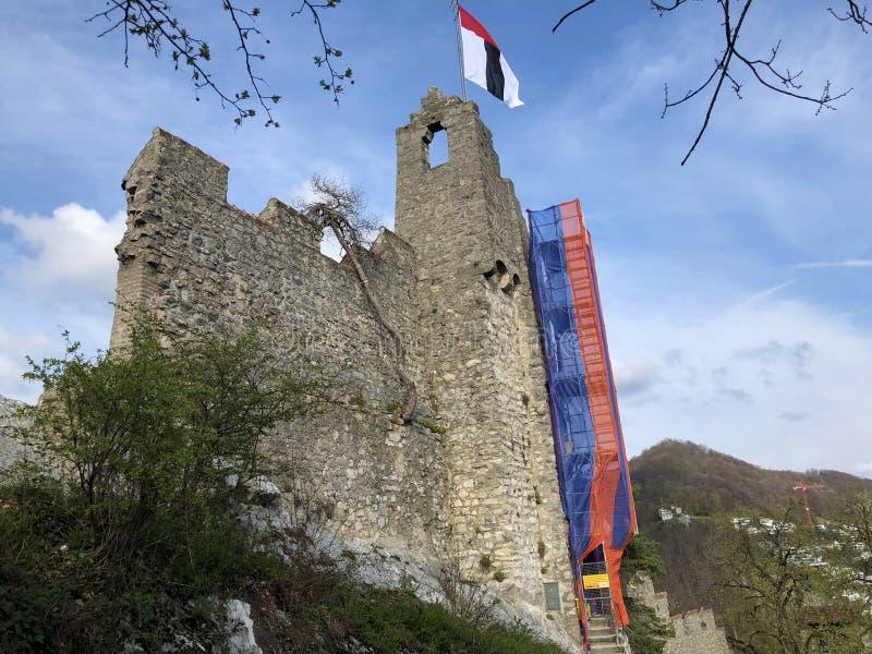 Fördärvar av den Stein Castle eller Schloss ölkrus- eller Ruine ölkruset eller den Schlossruine ölkruset, Baden royaltyfri bild