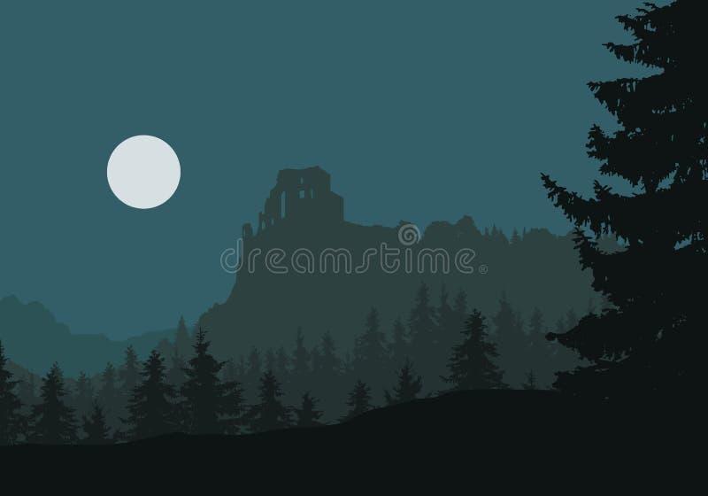 Fördärvar av en medeltida slott på en vagga mellan skogar och mountaien stock illustrationer