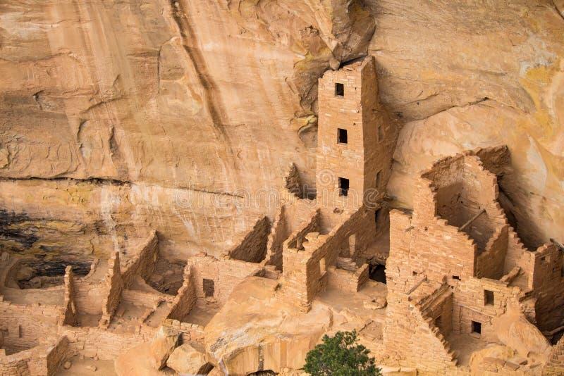 Fördärvar av en släkt- Puebloan klippaboning på Mesa Verde National Park royaltyfri fotografi
