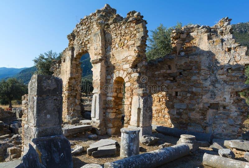 Fördärvar av en tidiga Christian Temple royaltyfria bilder
