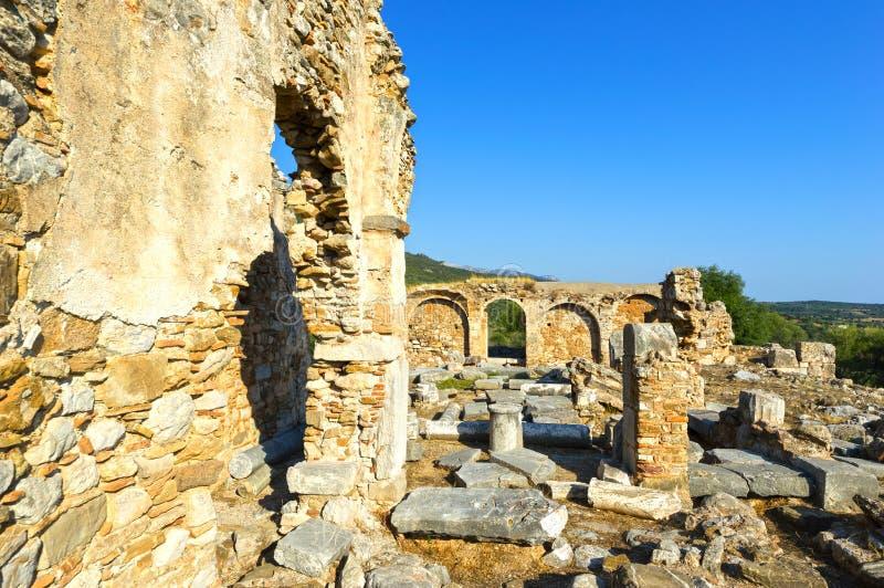 Fördärvar av en tidiga Christian Temple royaltyfria foton