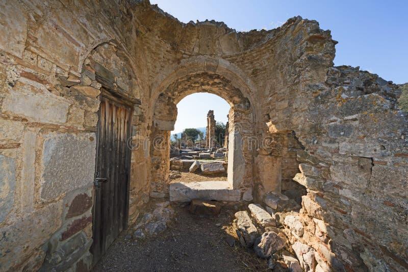 Fördärvar av en tidiga Christian Temple arkivfoton