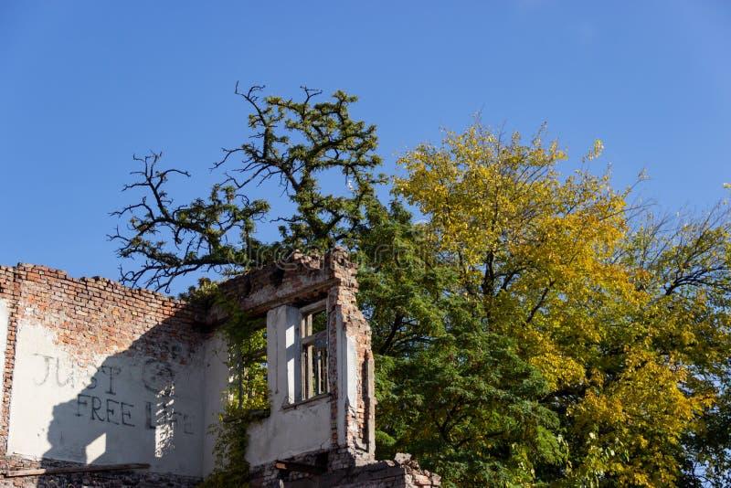 Fördärvar av ett bränt ner forntida hus Dnipro Ukraina, November 2018 arkivfoton