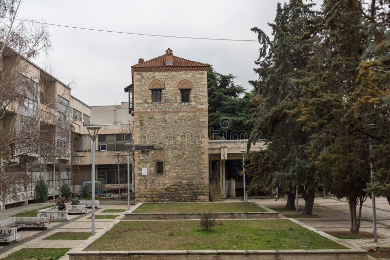 Fördärvar av feodalt torn i stad av Skopje, Republiken Makedonien royaltyfri foto