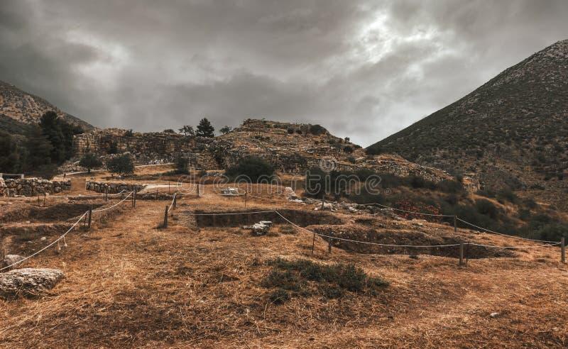 Fördärvar av forntida Mycenae - Peloponnese - Grekland royaltyfria foton