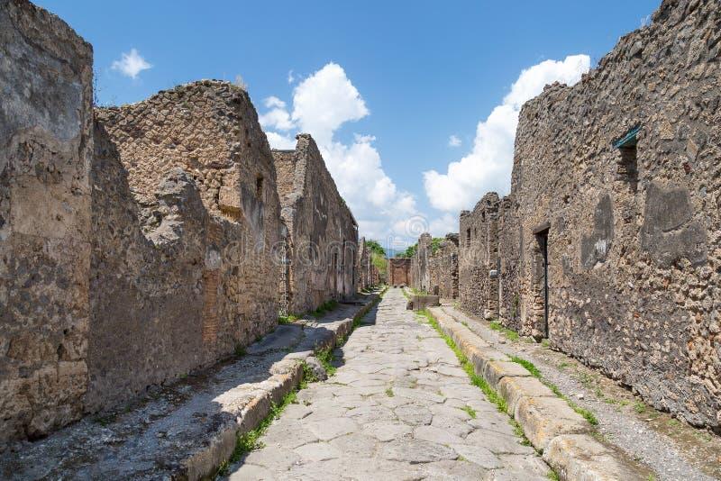 Fördärvar av forntida romersk stad av Pompeii, landskap av Naples, Campania, Italien arkivbild