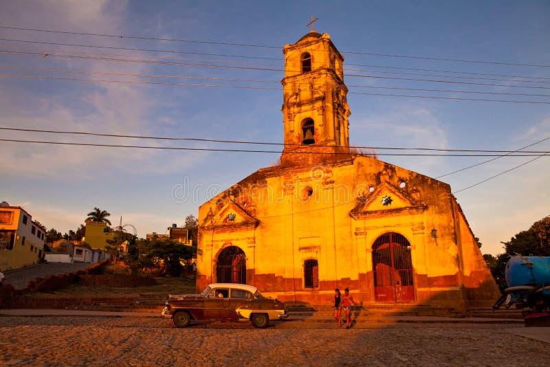 Fördärvar av katolska kyrkan av Santa Ana i Trinidad, Kuba royaltyfri foto