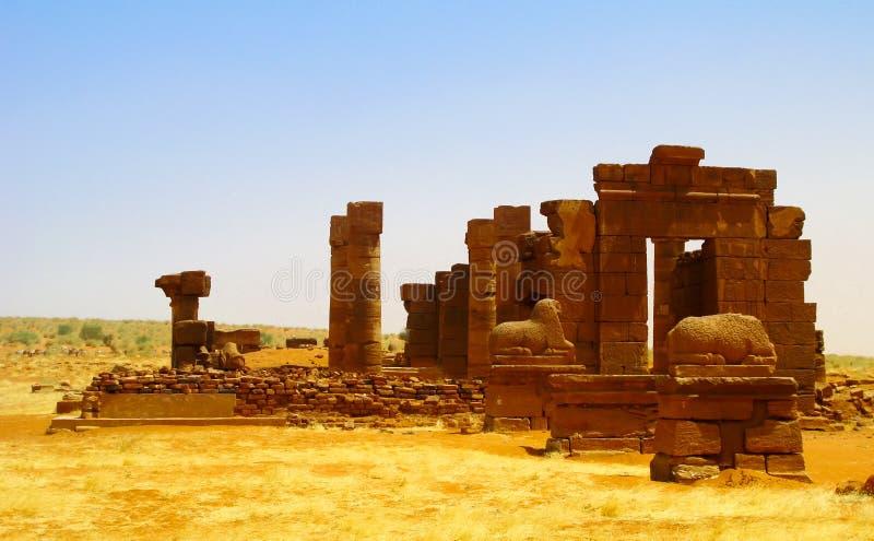 Fördärvar av Naqa Meroe, forntida Kush Sudan royaltyfri fotografi