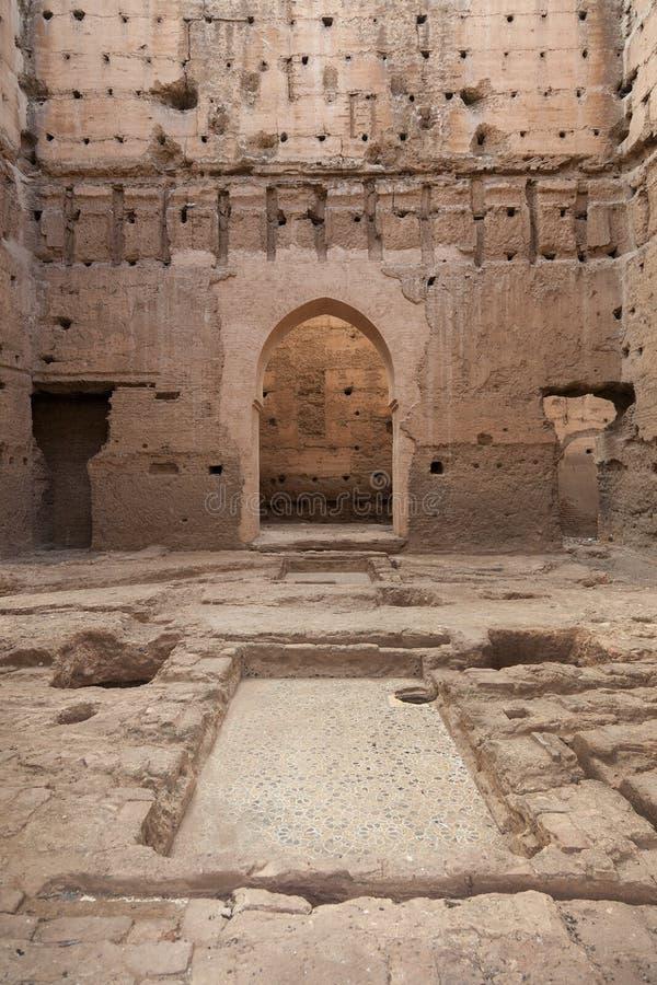 Fördärvar av Palais El Badii Marrakech Marocko arkivfoto