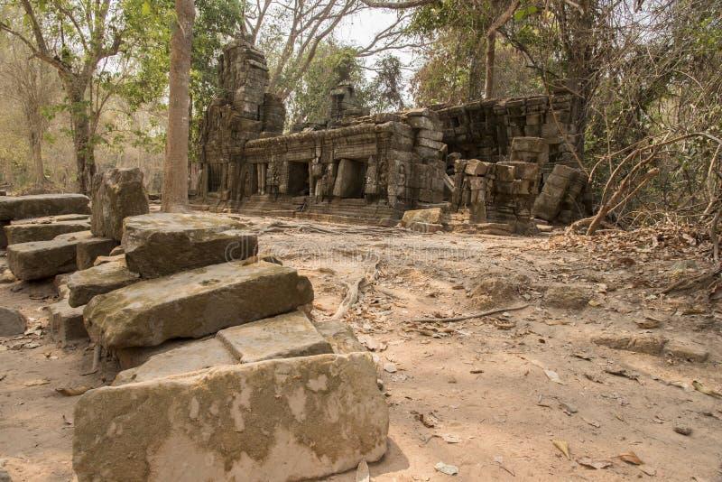 Fördärvar av Preah Khan, Angkor Thom, Cambodja arkivbilder