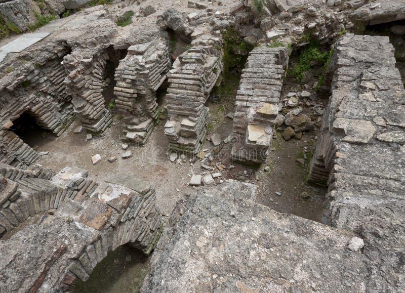 Fördärvar av Roman Baths på Perga i Turkiet royaltyfri bild