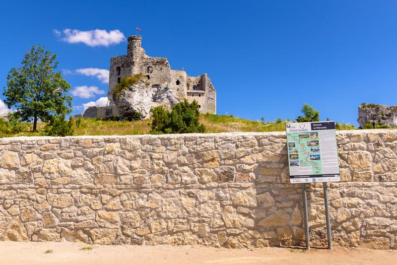 Fördärvar av slott i Mirow by, en av de medeltida slottarna som kallas Eagles som reden skuggar royaltyfria bilder