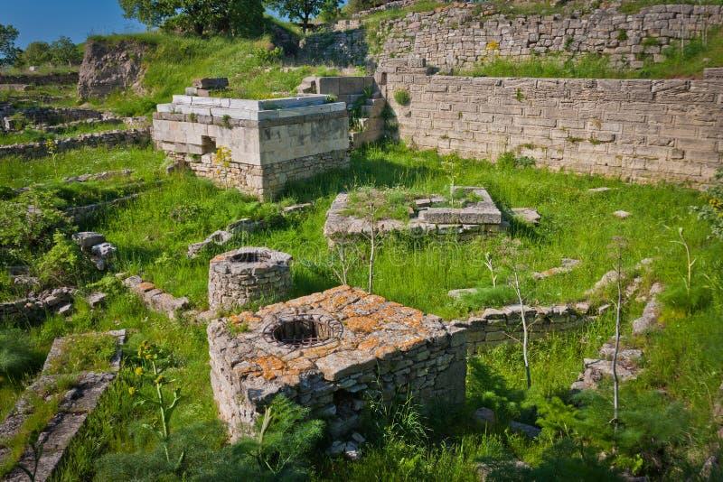 Fördärvar av staden av Troy royaltyfria foton