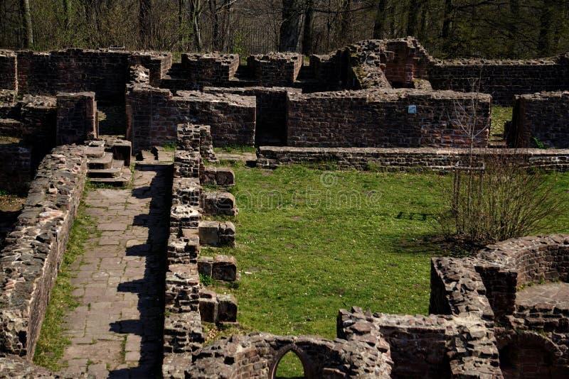 Fördärvar av Sts Michael kloster på helgonens berg i Heidelberg arkivbilder