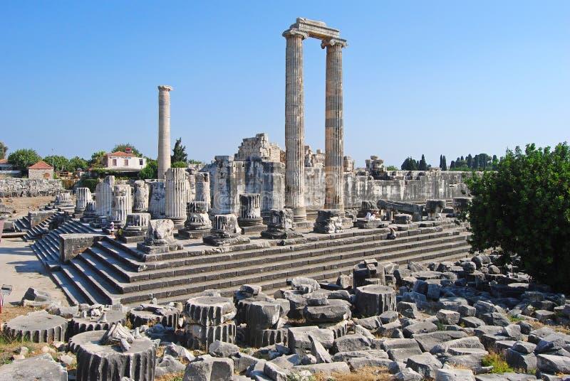 Fördärvar av templet av Apollo i Didyma, Turkiet arkivfoton