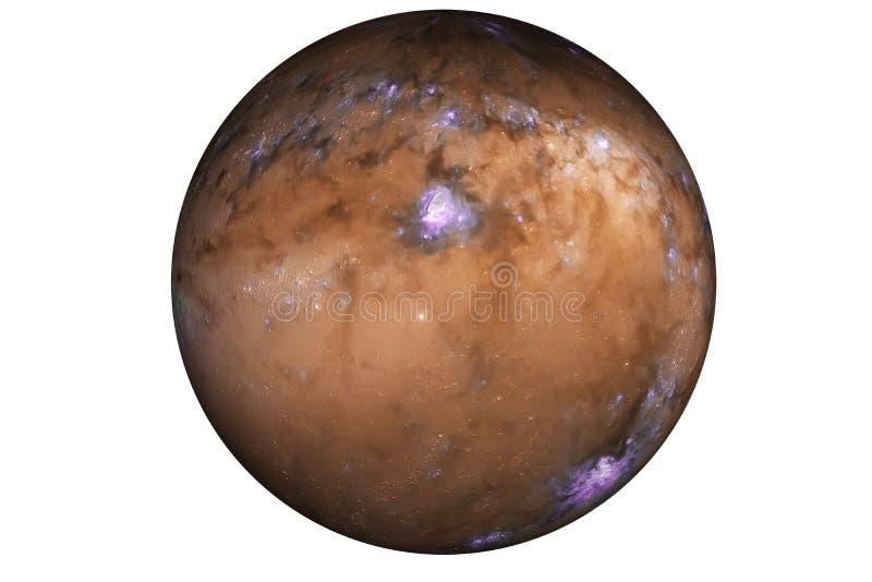 Fördärvar den röda planeten för fiktion med purpurfärgade åskväder royaltyfria foton