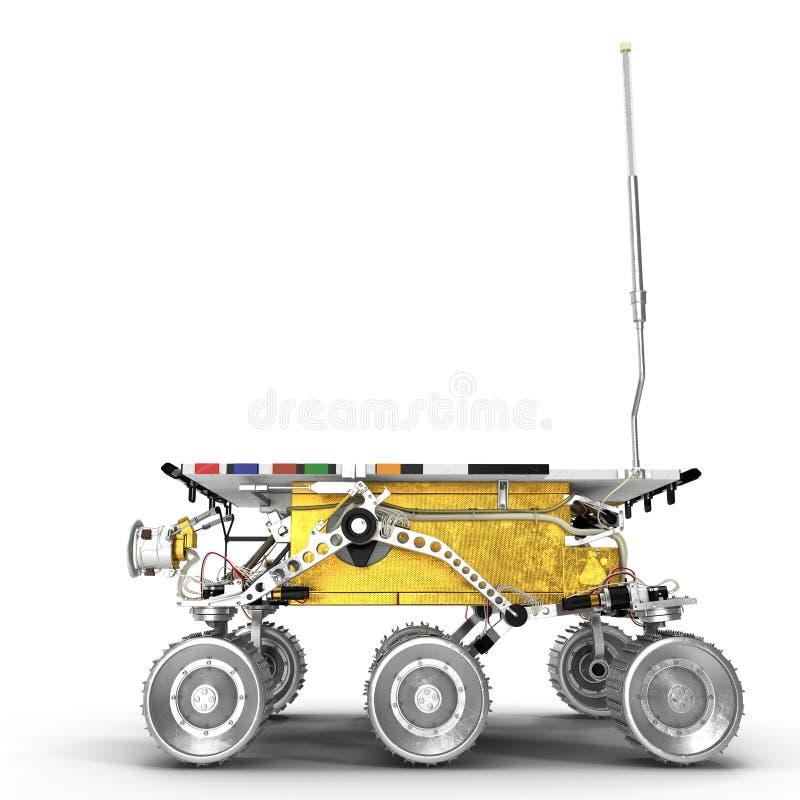 Fördärvar den Rover Sojourner 3D illustrationen på vit bakgrund vektor illustrationer