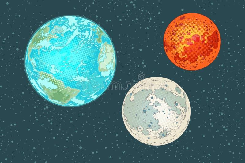 Fördärvar jord och månen, planeter av solsystemet stock illustrationer
