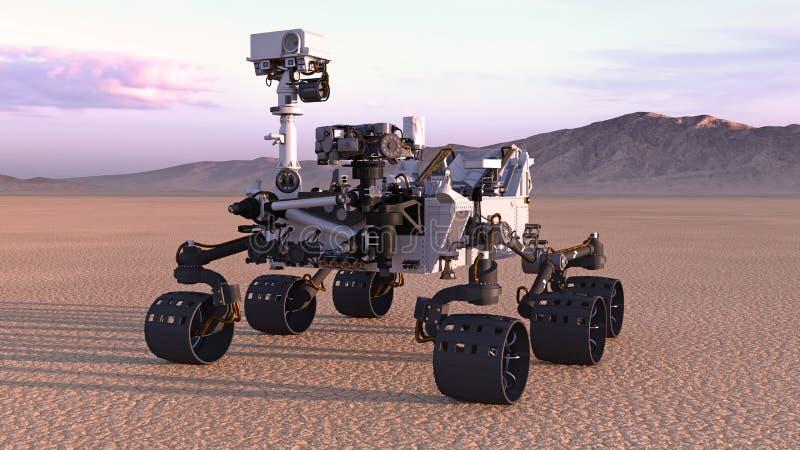 Fördärvar Rover, autonomt medel för robotic utrymme på en öde planet med berg i bakgrund, 3D framför vektor illustrationer