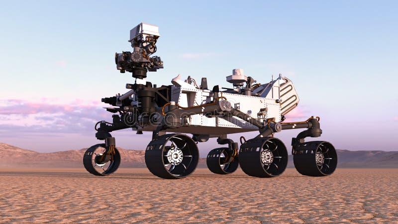 Fördärvar Rover, autonomt medel för robotic utrymme på en öde planet med kullar i bakgrund, 3D framför royaltyfri illustrationer
