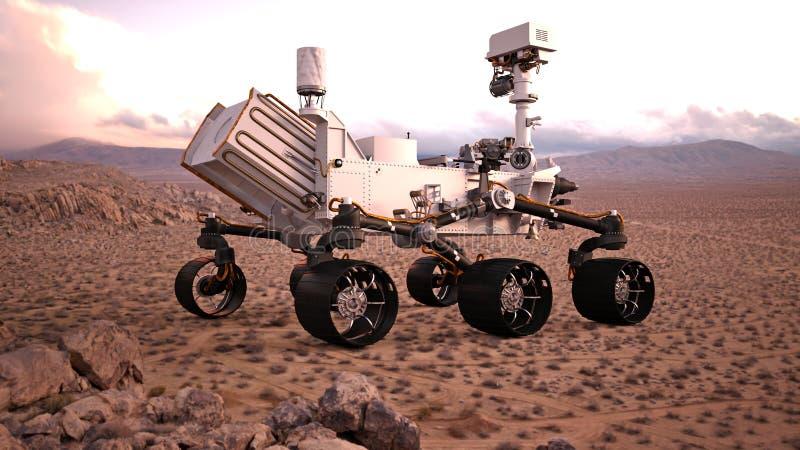 Fördärvar Rover, det autonoma medlet för robotic utrymme på en öde planet, den bakre sikten, illustrationen 3D royaltyfri illustrationer