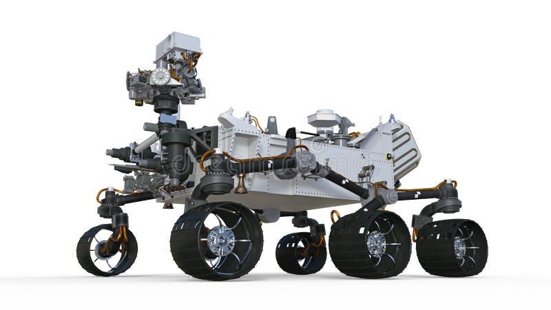 Fördärvar Rover, det robotic autonoma medlet som isoleras på vit bakgrund, illustrationen 3D royaltyfri illustrationer