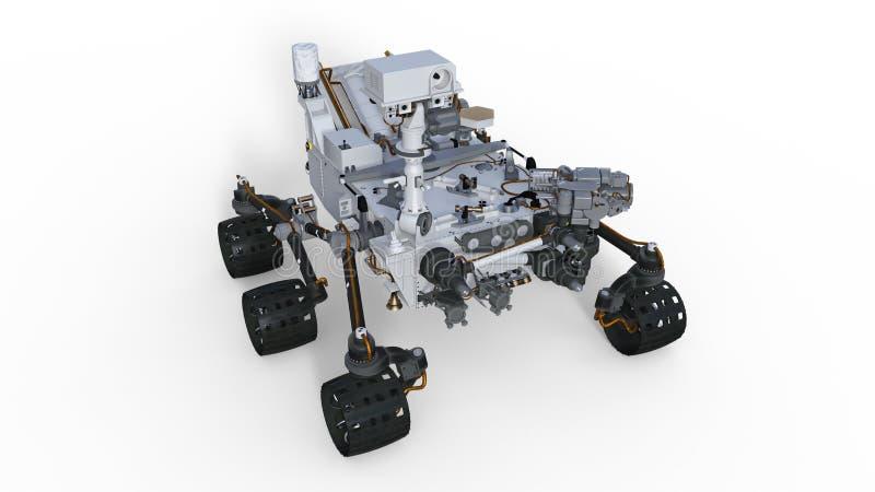 Fördärvar Rover, det robotic utrymmemotorfordonet som isoleras på vit bakgrund, illustrationen 3D stock illustrationer