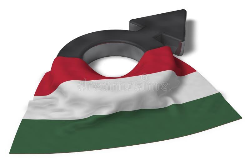 Fördärvar symbol och flaggan av Ungern vektor illustrationer