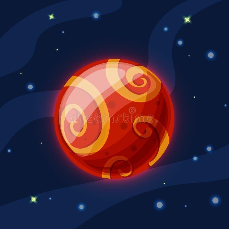 Fördärvar vektortecknad filmillustrationen Den röda planeten fördärvar av solsystemet i mörkt djupblått utrymme, isolerat på blå  vektor illustrationer